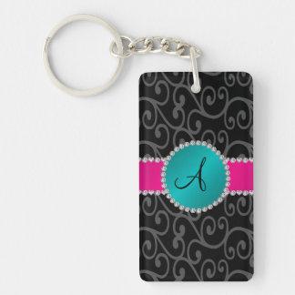 Monogram black swirls turquoise circle rectangular acrylic keychains