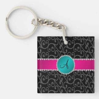 Monogram black swirls turquoise circle acrylic key chain