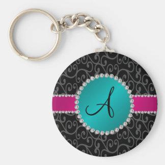 Monogram black swirls turquoise circle keychains