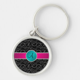 Monogram black swirls turquoise circle key chains