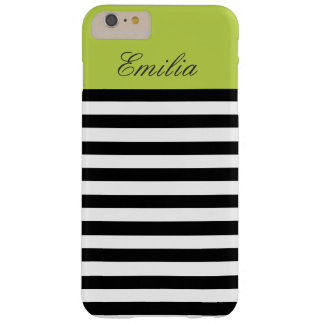 Monogram Black White Tender Shoots Green Stripes Barely There iPhone 6 Plus Case