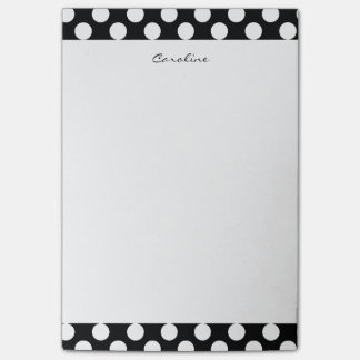Monogram Black White Trendy Fun Polka Dot Pattern Post-it Notes