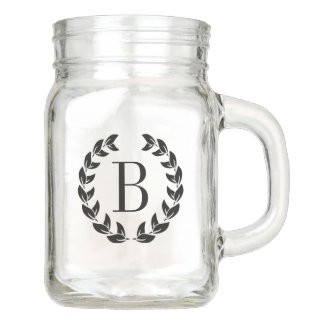 Monogram Black Wreath Illustration Mason Jar