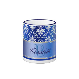 Monogram Blue and White Damask Ringer Mug