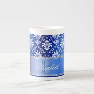 Monogram Blue and White Damask Tea Cup