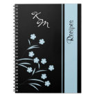 Monogram Blue Flower Pattern Spiral Notebook