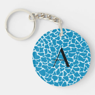Monogram blue giraffe print key chain