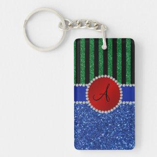 Monogram blue glitter green black stripes rectangular acrylic key chains