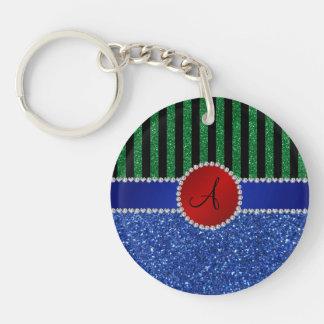 Monogram blue glitter green black stripes acrylic key chain