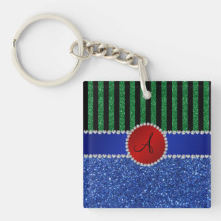 Monogram blue glitter green black stripes keychain