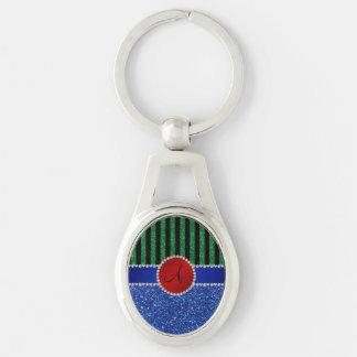 Monogram blue glitter green black stripes keychains