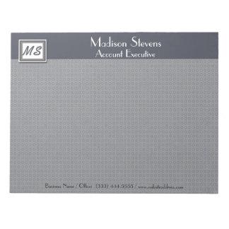 Monogram Blue, Gray Pattern Notepad