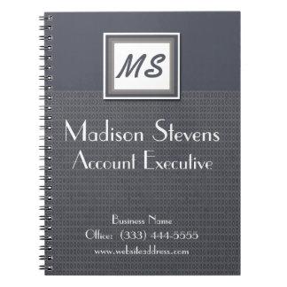 Monogram Blue, Gray Pattern Spiral Notebook