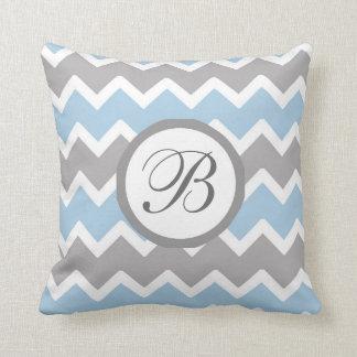 Monogram Blue Grey Chevron Baby Boy Nursery Cushion