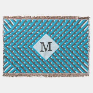 Monogram Blue Grid Customizable Throw Blanket
