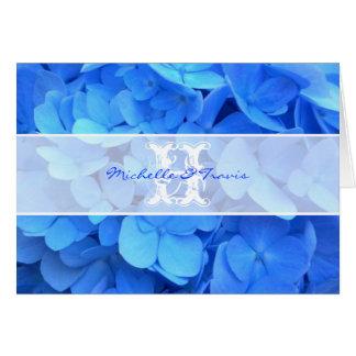Monogram Blue Hydrangea Thank You Note Card