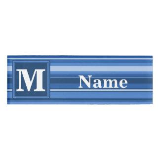Monogram blue stripes name tag