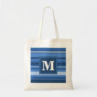 Monogram blue stripes tote bag