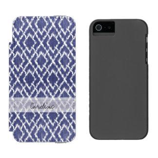 Monogram Blue Tribal Print Ikat Diamond Pattern Incipio Watson™ iPhone 5 Wallet Case