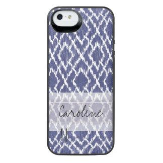 Monogram Blue Tribal Print Ikat Diamond Pattern iPhone SE/5/5s Battery Case