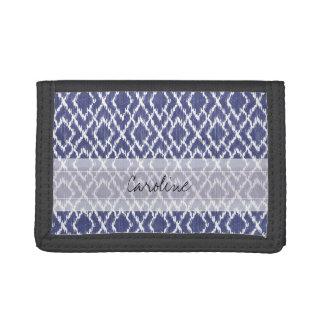 Monogram Blue Tribal Print Ikat Diamond Pattern Trifold Wallets