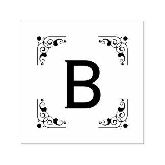 Monogram Bold Initial Vintage Framed Self-inking Stamp