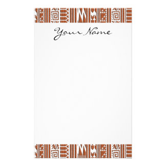 Monogram Brown Brick Geometric Tribal Print Pattrn Stationery