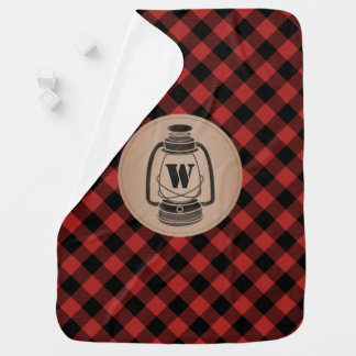Monogram Buffalo Plaid Lantern Blanket Swaddle Blankets