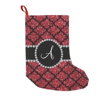 Monogram burgundy red glitter moroccan small christmas stocking