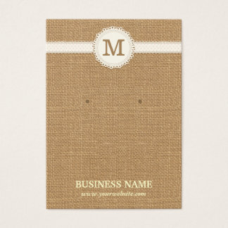 Monogram Burlap Earring & Jewelry Display Cards