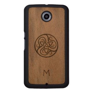 Monogram Celtic Knot Wood Google Nexus Case