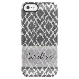 Monogram Charcoal Gray Tribal Ikat Diamond Pattern Clear iPhone SE/5/5s Case