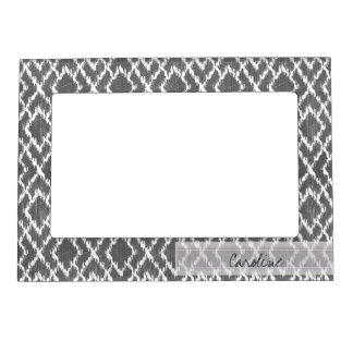 Monogram Charcoal Gray Tribal Ikat Diamond Pattern Magnetic Picture Frame