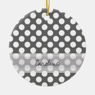 Monogram Charcoal Gray White Polka Dot Pattern Christmas Ornament
