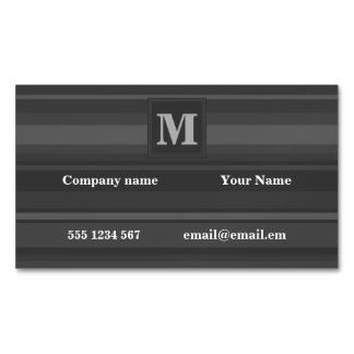 Monogram charcoal stripes magnetic business cards