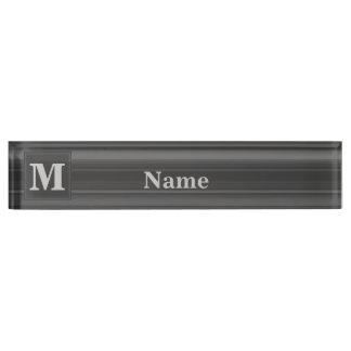 Monogram charcoal stripes name plate