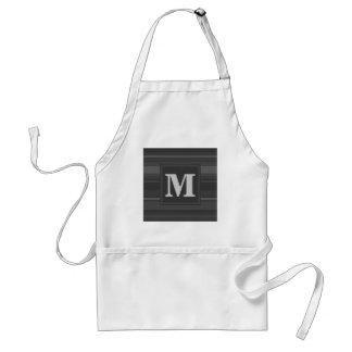 Monogram charcoal stripes standard apron