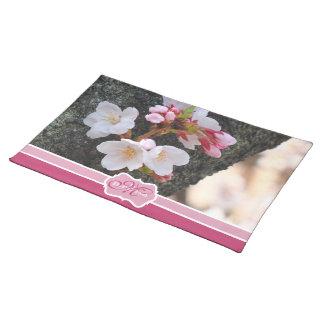 Monogram Cherry Blossom Sakura Blooming Tree Trunk Placemat