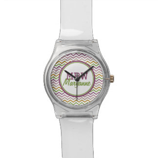 Monogram Chevron Inspired by Nature Pink and Green Watch