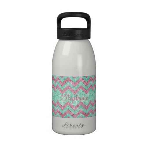 Monogram Chevron Pattern Pink Teal Glitter Photo Water Bottles