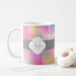 Monogram colourful pattern coffee mug
