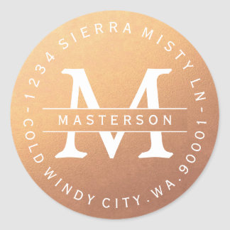 Monogram Copper Circular Return Address Label Round Sticker