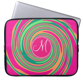 Monogram Coral Hot Pink Green Whirlpool Swirl Laptop Sleeve