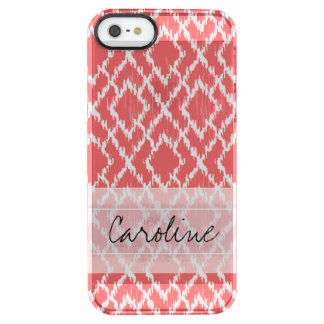Monogram Coral Pink Tribal Ikat Diamond Pattern Clear iPhone SE/5/5s Case