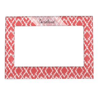 Monogram Coral Pink Tribal Ikat Diamond Pattern Magnetic Frame