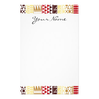 Monogram Cream Red Abstract Aztec Tribal Pattern Stationery