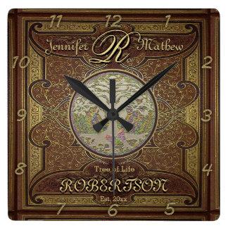 Monogram Custom Family Tree Anniversary Wall Clock