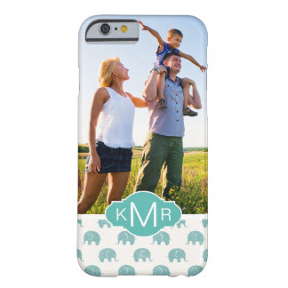 Monogram | Cute Teal  Elephant Pattern Barely There iPhone 6 Case