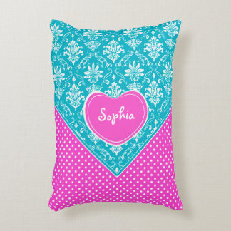 Monogram Damask and Polka Dots Accent Pillow