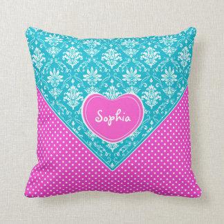 Monogram Damask and Polka Dots Throw Pillows